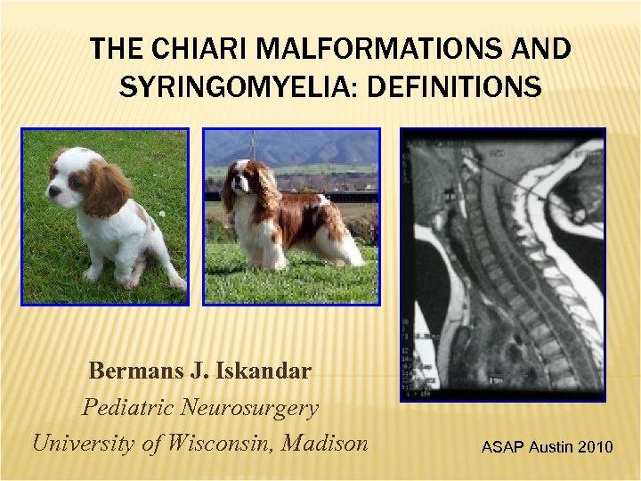 THE CHIARI MALFORMATIONS AND SYRINGOMYELIA: DEFINITIONS Bermans J. Iskandar Pediatric Neurosurgery University of Wisconsin,