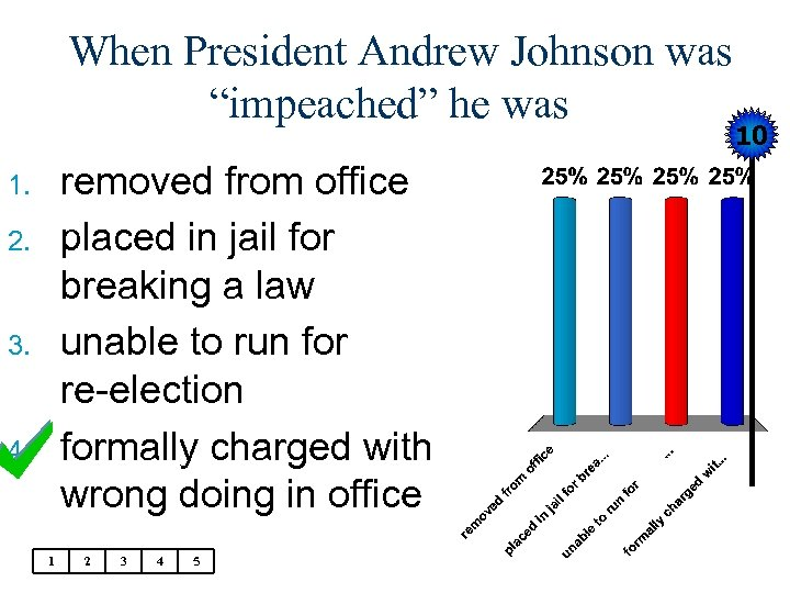 "When President Andrew Johnson was ""impeached"" he was 10 removed from office placed"