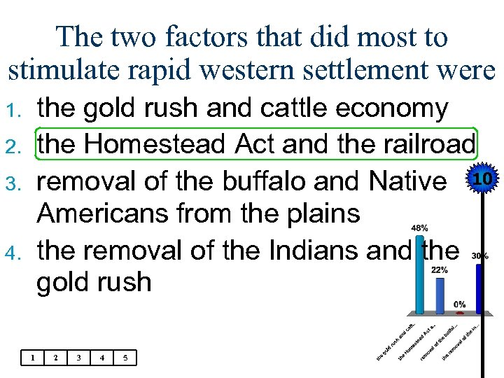 The two factors that did most to stimulate rapid western settlement were the gold