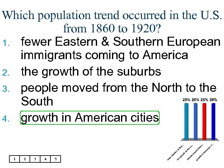 Which population trend occurred in the U. S. from 1860 to 1920? 1. fewer