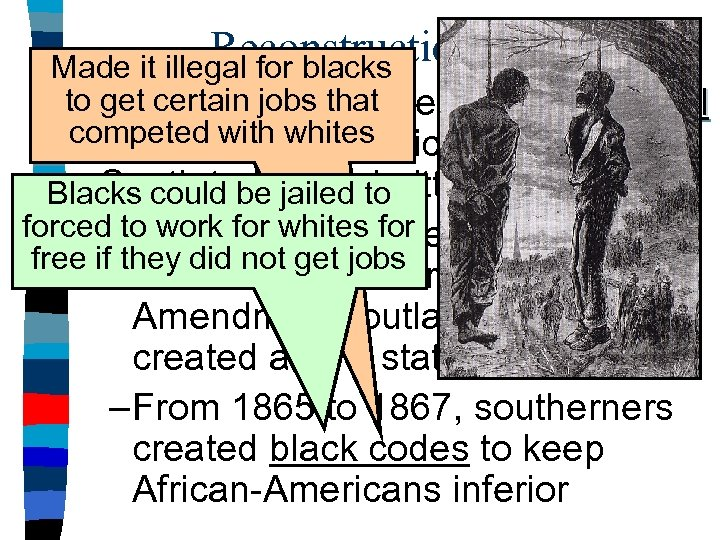 Reconstruction Plans Made it illegal for blacks to get certain jobs that ■ Andrew