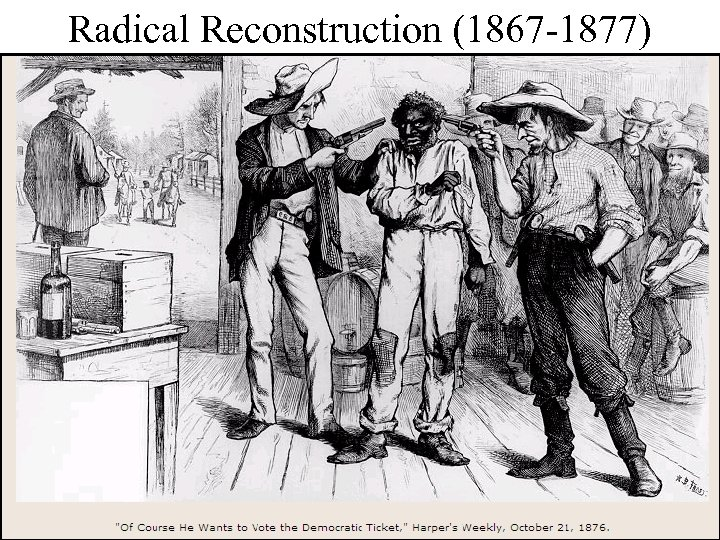 Radical Reconstruction (1867 -1877) Created 5 military districts to enforce Reconstruction But, Radical Reconstruction