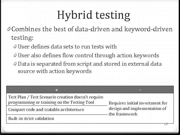 Hybrid testing 0 Combines the best of data-driven and keyword-driven testing: 0 User defines