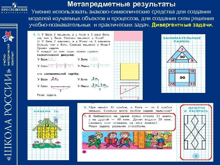 Метапредметные результаты учебнометодический комплект Умение использовать знаково-символические средства для создания моделей изучаемых объектов и