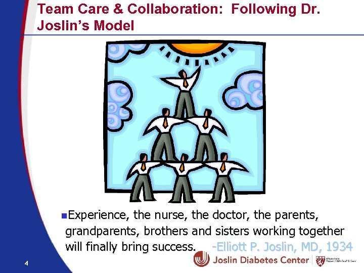 Team Care & Collaboration: Following Dr. Joslin's Model n. Experience, the nurse, the doctor,