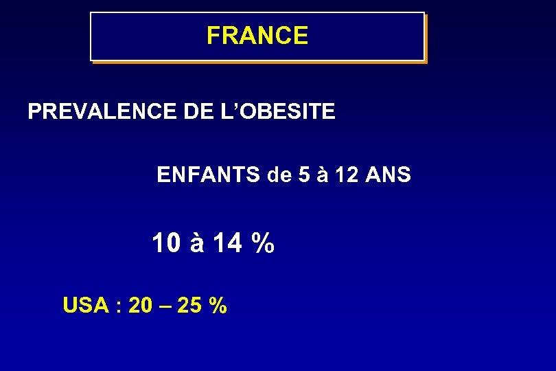 FRANCE PREVALENCE DE L'OBESITE ENFANTS de 5 à 12 ANS 10 à 14 %