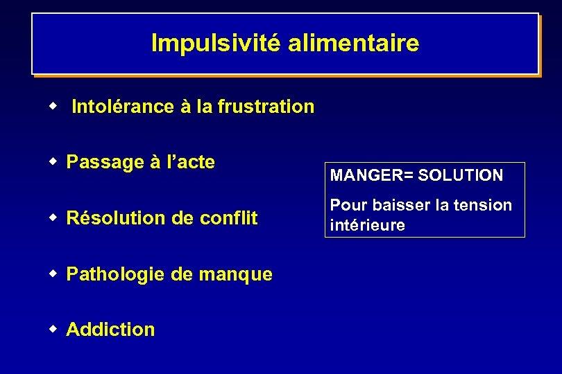 Impulsivité alimentaire w Intolérance à la frustration w Passage à l'acte w Résolution de
