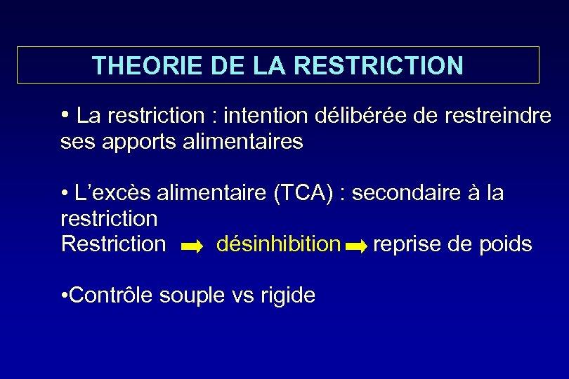 THEORIE DE LA RESTRICTION • La restriction : intention délibérée de restreindre ses apports