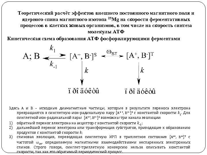 Теоретический расчёт эффектов внешнего постоянного магнитного поля и ядерного спина магнитного изотопа 25 Мg