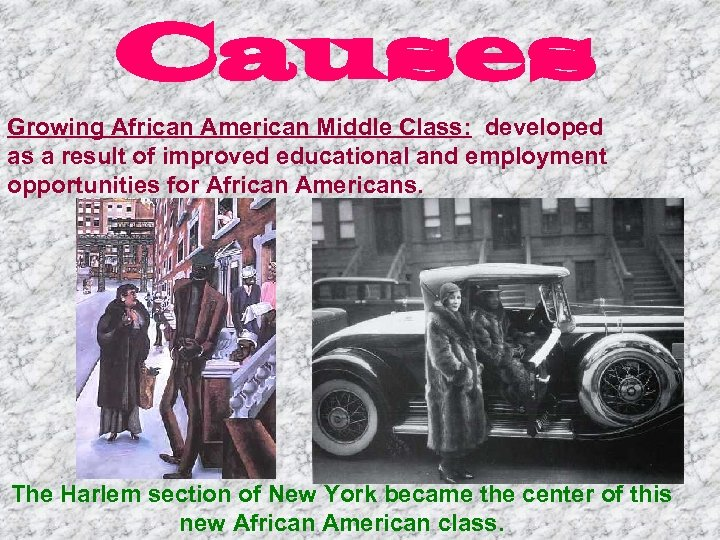 Causes Growing African American Middle Class: developed as a result of improved educational and