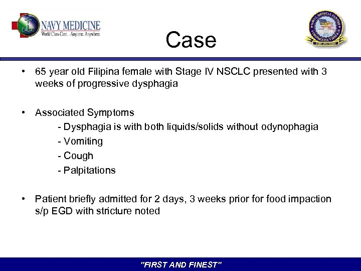 Case • 65 year old Filipina female with Stage IV NSCLC presented with 3