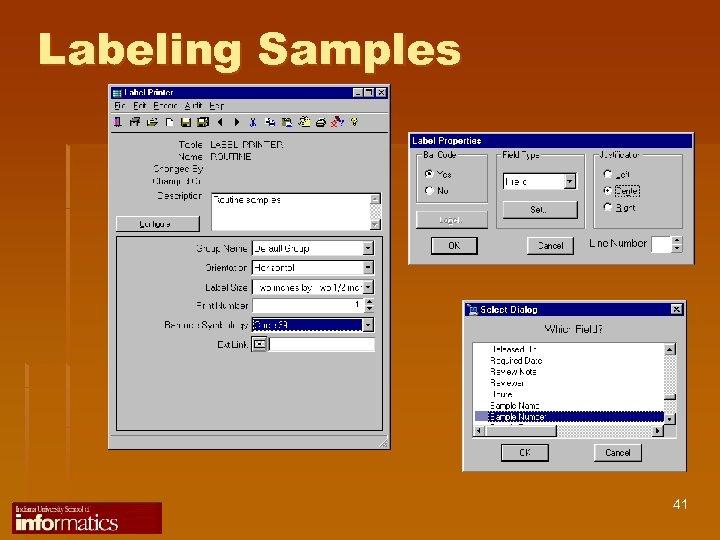 Labeling Samples 41