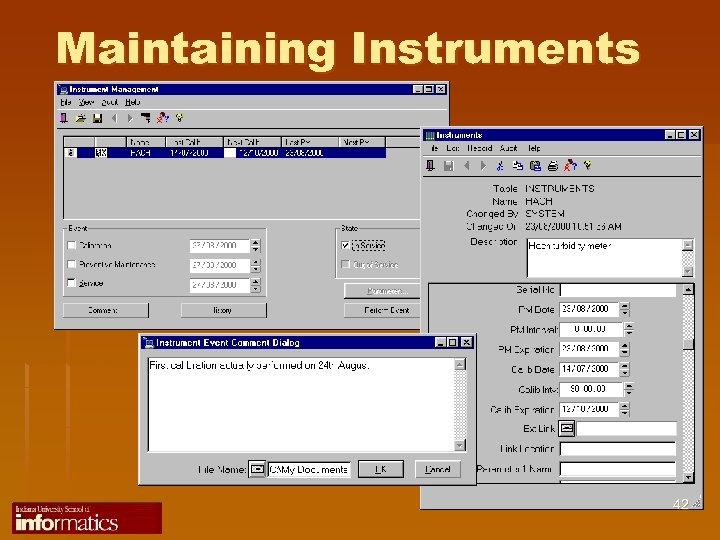 Maintaining Instruments 42