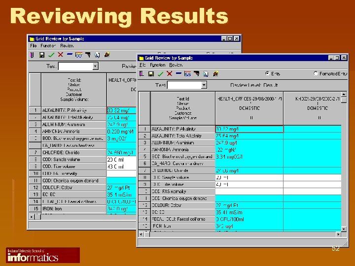 Reviewing Results 52