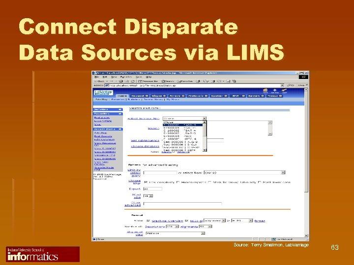 Connect Disparate Data Sources via LIMS Source: Terry Smallmon, Lab. Vantage 63