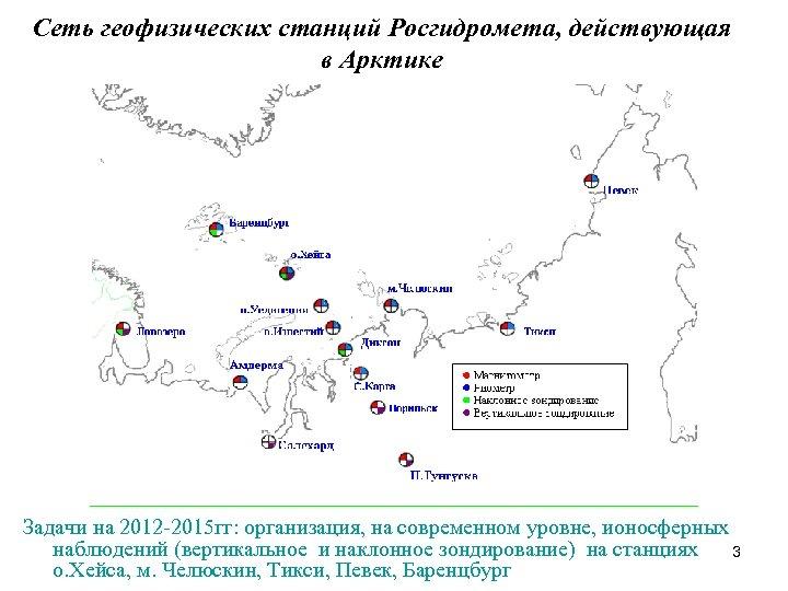 Сеть геофизических станций Росгидромета, действующая в Арктике Задачи на 2012 -2015 гг: организация, на