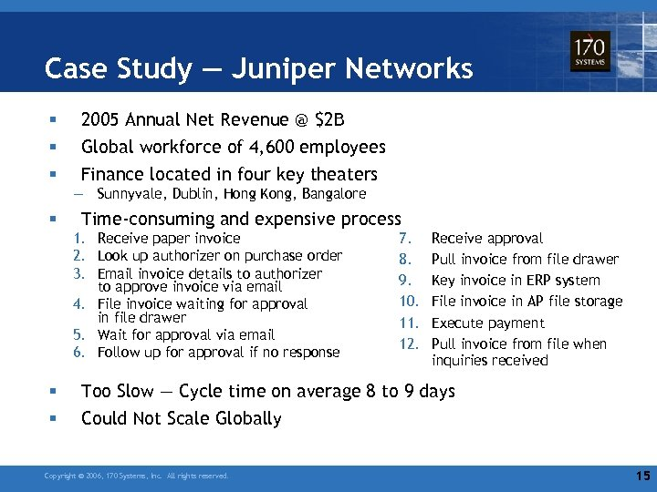 Case Study — Juniper Networks § § § 2005 Annual Net Revenue @ $2