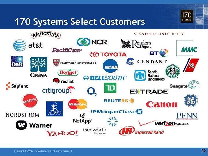 170 Systems Select Customers Copyright © 2006, 170 Systems, Inc. All rights reserved. 22