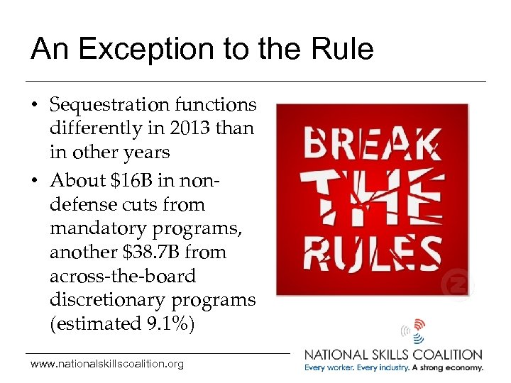 An Exception to the Rule • Sequestration functions differently in 2013 than in other