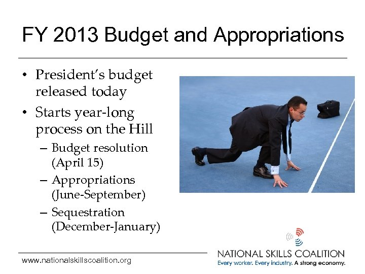 FY 2013 Budget and Appropriations • President's budget released today • Starts year-long process