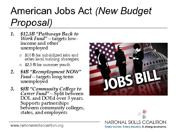 "American Jobs Act (New Budget Proposal) 1. $12. 5 B ""Pathways Back to Work"