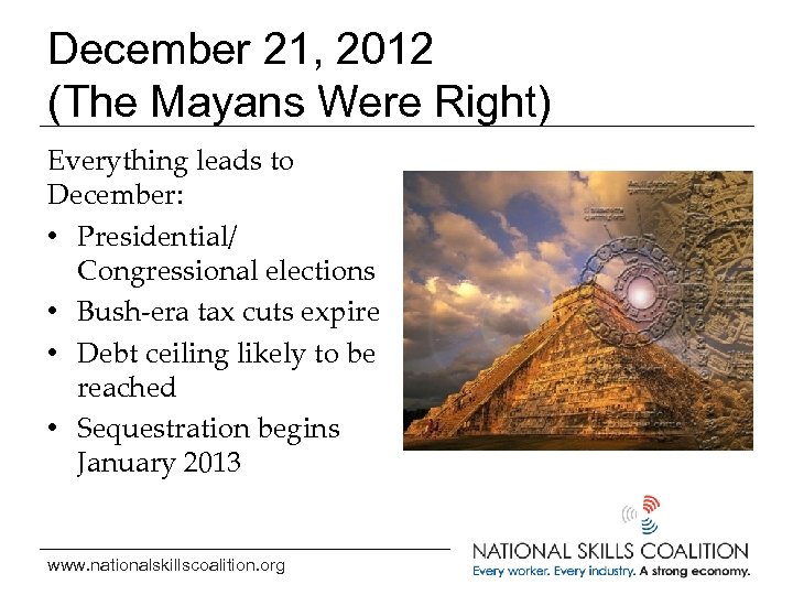 December 21, 2012 (The Mayans Were Right) Everything leads to December: • Presidential/ Congressional