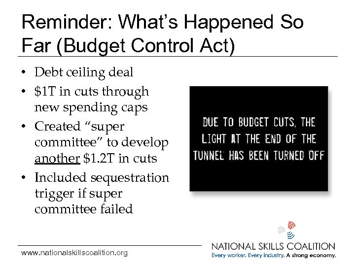 Reminder: What's Happened So Far (Budget Control Act) • Debt ceiling deal • $1
