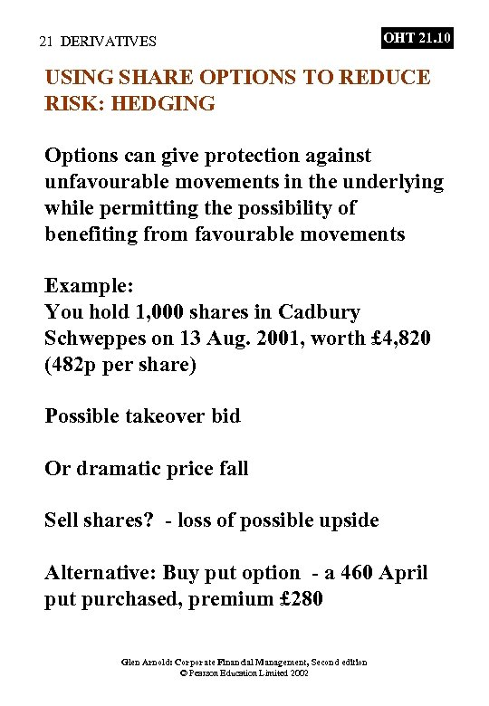 21 DERIVATIVES OHT 21. 10 USING SHARE OPTIONS TO REDUCE RISK: HEDGING Options can