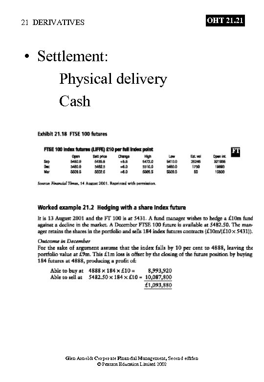 21 DERIVATIVES • Settlement: Physical delivery Cash Glen Arnold: Corporate Financial Management, Second edition