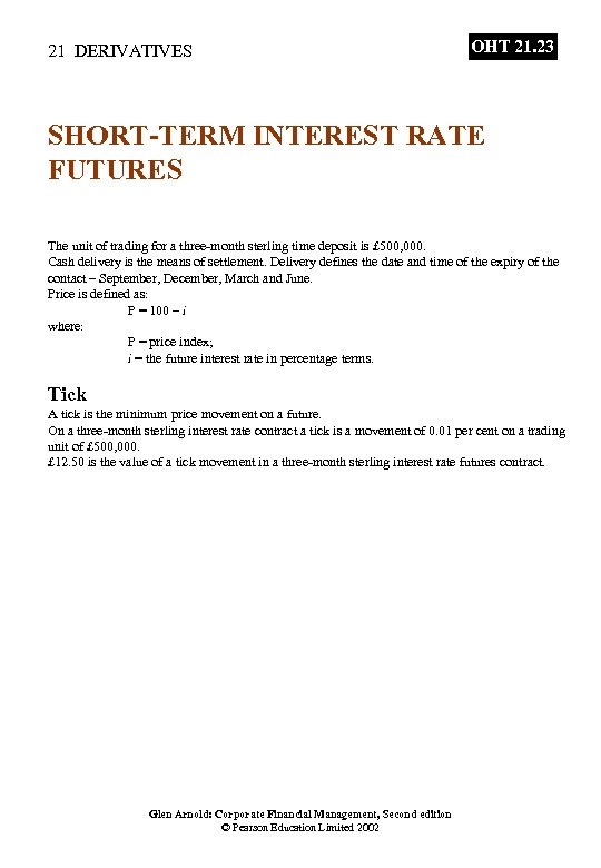 21 DERIVATIVES OHT 21. 23 SHORT-TERM INTEREST RATE FUTURES The unit of trading for