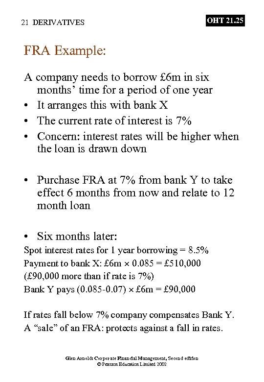 21 DERIVATIVES OHT 21. 25 FRA Example: A company needs to borrow £ 6