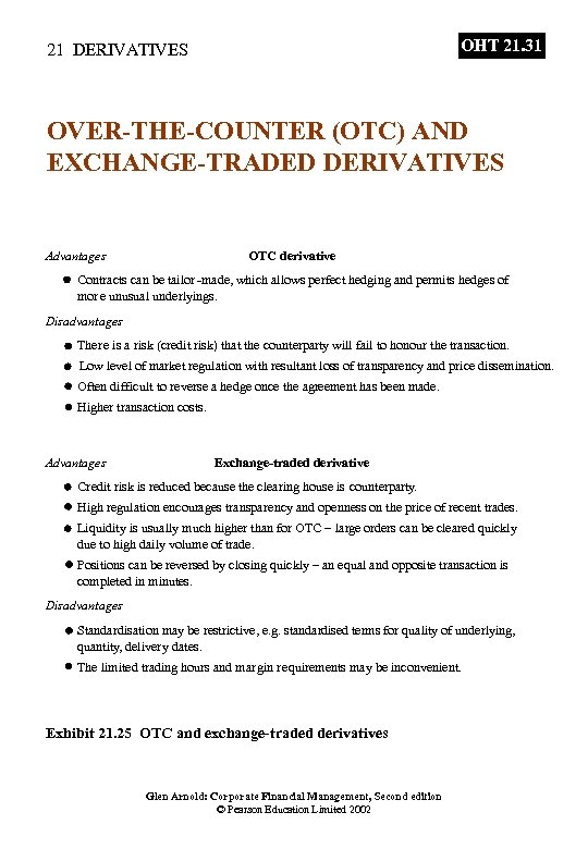 OHT 21. 31 21 DERIVATIVES OVER-THE-COUNTER (OTC) AND EXCHANGE-TRADED DERIVATIVES Advantages OTC derivative Contracts