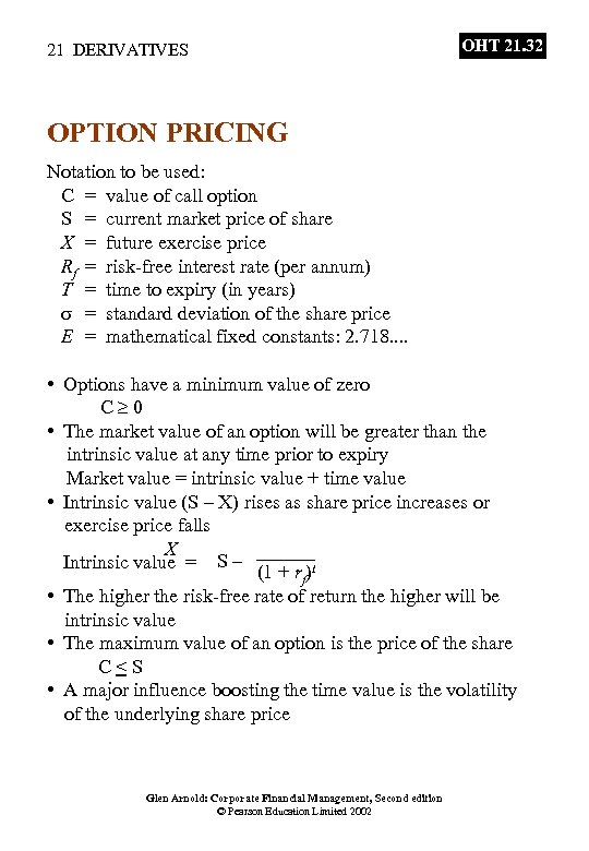 21 DERIVATIVES OHT 21. 32 OPTION PRICING Notation to be used: C = value
