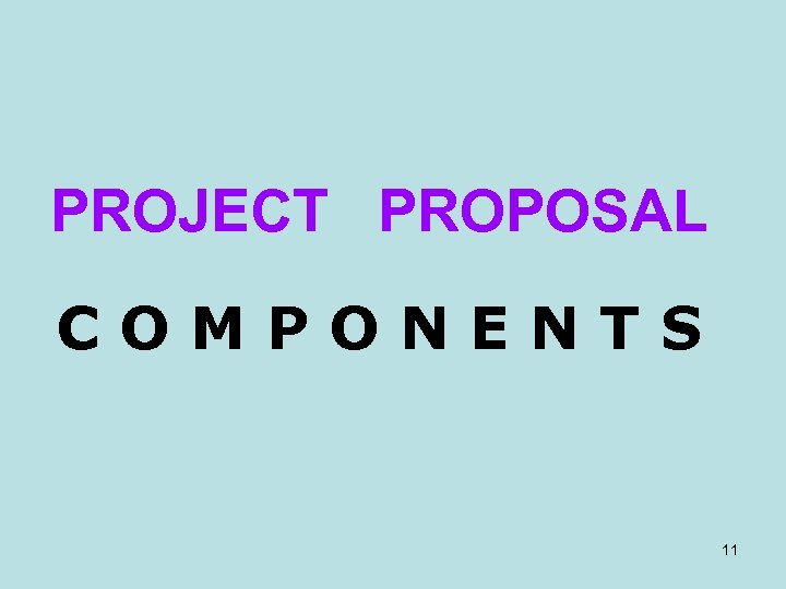 PROJECT PROPOSAL COMPONENTS 11