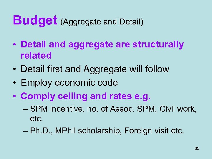 Budget (Aggregate and Detail) • Detail and aggregate are structurally related • Detail first