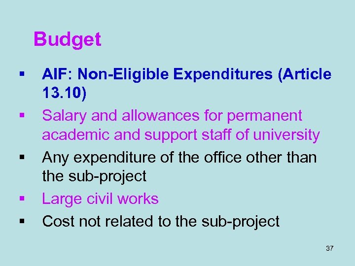 Budget § § § AIF: Non-Eligible Expenditures (Article 13. 10) Salary and allowances for