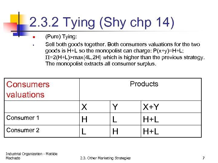 2. 3. 2 Tying (Shy chp 14) n § (Pure) Tying: Sell both goods