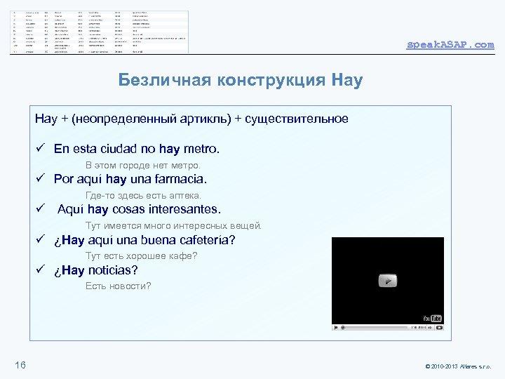 speak. ASAP. com Безличная конструкция Hay + (неопределенный артикль) + существительное ü En esta