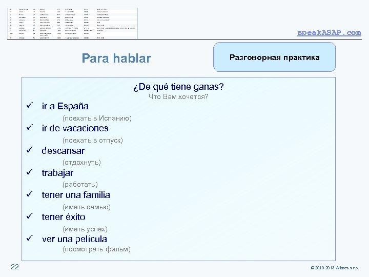 speak. ASAP. com Para hablar Разговорная практика ¿De qué tiene ganas? Что Вам хочется?