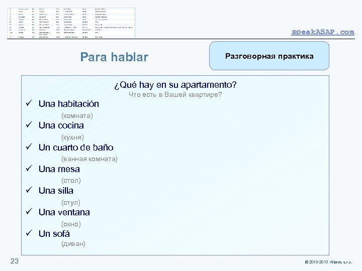 speak. ASAP. com Para hablar Разговорная практика ¿Qué hay en su apartamento? Что есть