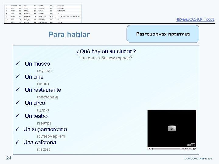 speak. ASAP. com Para hablar Разговорная практика ¿Qué hay en su ciudad? Что есть