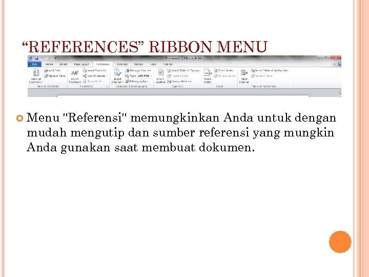"""REFERENCES"" RIBBON MENU Menu"