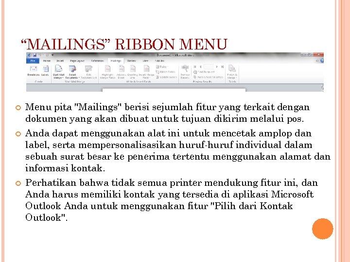 """""""MAILINGS"""" RIBBON MENU Menu pita"""
