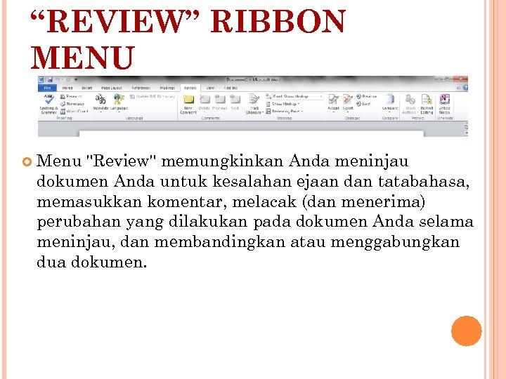 """REVIEW"" RIBBON MENU Menu"