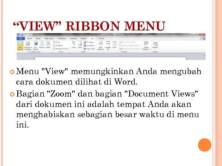 """VIEW"" RIBBON MENU Menu"