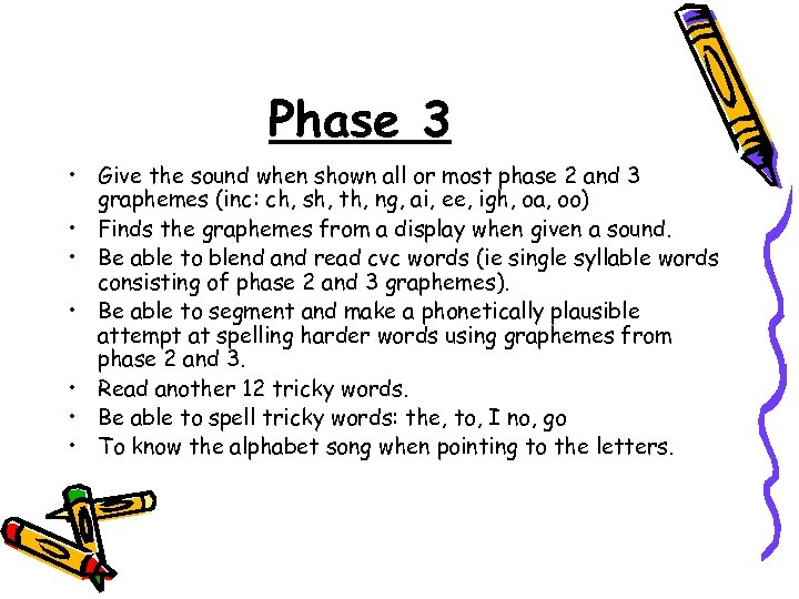 Phase 3 • Give the sound when shown all or most phase 2 and