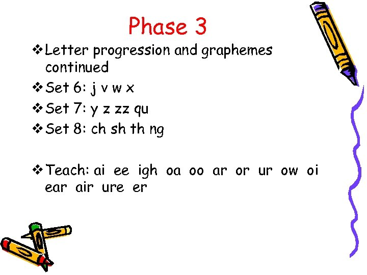Phase 3 v Letter progression and graphemes continued v Set 6: j v w