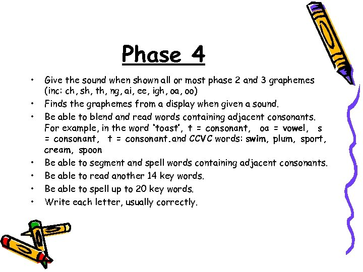 Phase 4 • • Give the sound when shown all or most phase 2