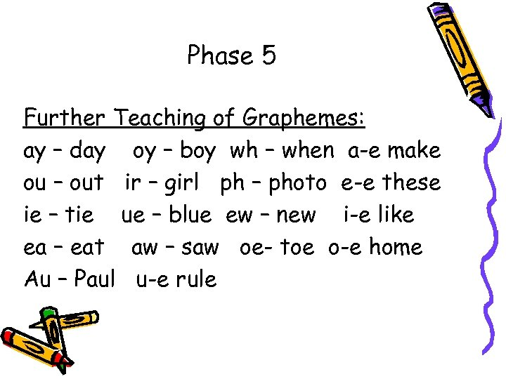 Phase 5 Further Teaching of Graphemes: ay – day oy – boy wh –