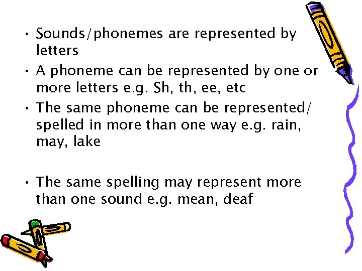 • Sounds/phonemes are represented by letters • A phoneme can be represented by